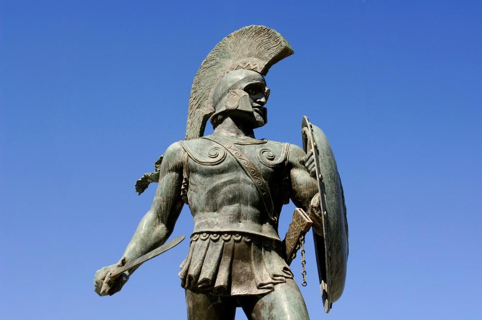 Greece, Peloponnese, Sparta, Leonidas statue